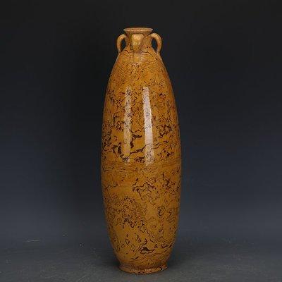 ㊣姥姥的寶藏㊣ 唐代黃地全手工絞胎橄欖瓶  文物出土古瓷器古玩古董收藏擺件