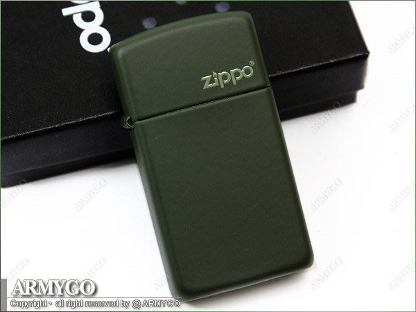 【ARMYGO】ZIPPO原廠打火機-軍綠色拷漆(窄版) No.1627ZL