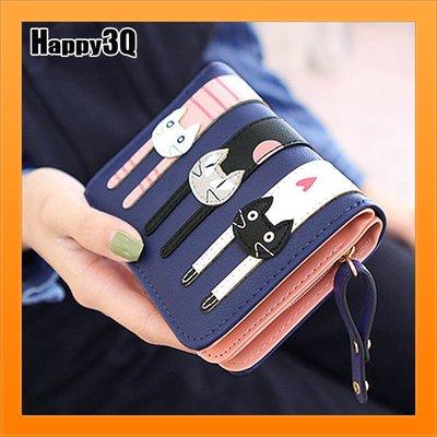 貓咪短夾女士錢包卡片收納信用卡學生錢包女生短夾OL-黑/藍/青/棕【AAA4127】