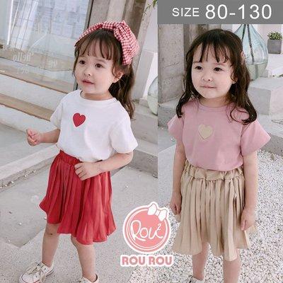 韓版女童套裝洋裝。ROUROU童裝。夏女童愛心短袖上衣+百折短裙 套裝 洋裝 0227-110