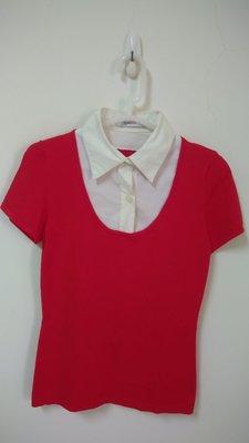 小楊二手衣^^假兩件式襯衫領短袖針織上衣