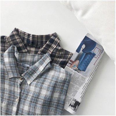 ❤Princess x Shop❤格紋長袖襯衫夏季防曬衫女韓版簡約百搭寬鬆BF風中長款上衣TM15-42-20韓國同款
