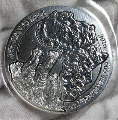 2016 Rwanda African Meerkat 盧旺達南非狐蒙銀幣 (1 toz)