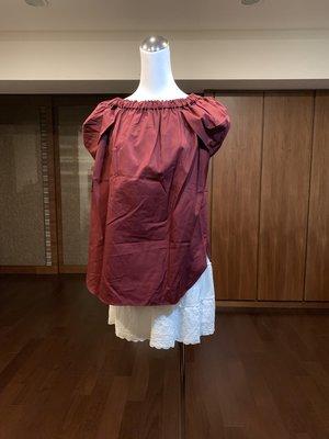 Anatelier暗紅色公主袖上衣 size38