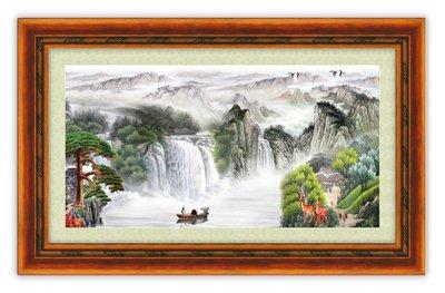 四方名畫:山水畫48X65CM 007 C中尺寸 名家水墨畫 聚財圖 複製油畫  畫質色彩細緻 裝飾畫MIT可訂製尺寸