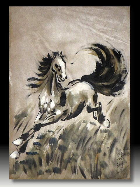 【 金王記拍寶網 】U717  中國近代書畫名家 徐悲鴻 款 手繪油畫一張 駿馬圖系列~ 罕見稀少 藝術無價~