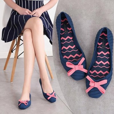 涼鞋 韓 菱形平底果凍鞋淺口涼鞋 韓版夏季蝴蝶結時尚膠鞋防滑雨鞋—莎芭