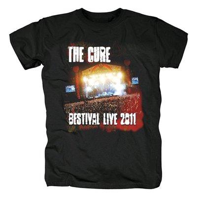 夏季新款男士熱賣原創設計The Cure朋克另類流行搖滾水洗純棉T恤