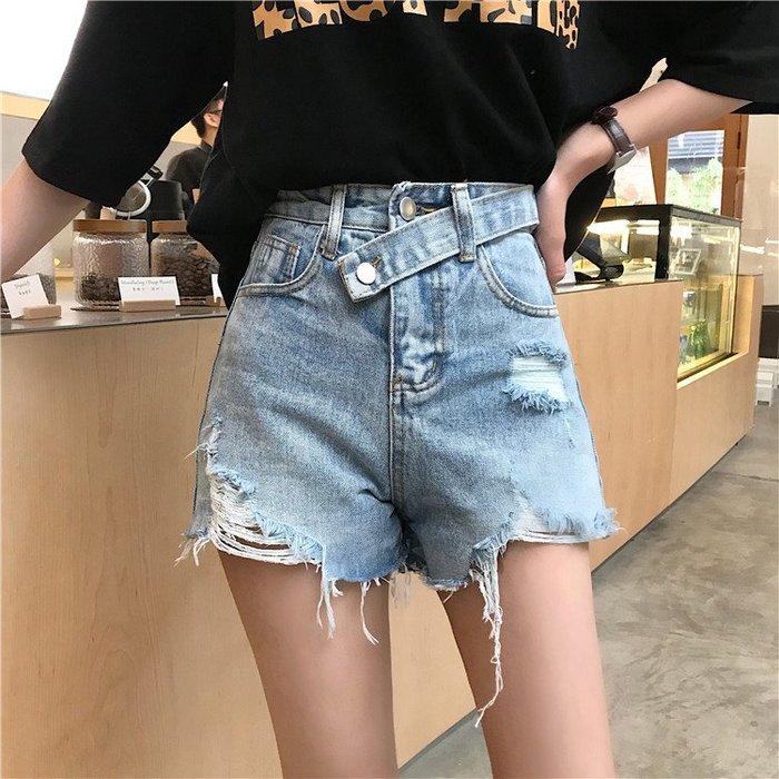 新款韓版女裝潮流不規則高腰破洞牛仔短褲熱褲潮