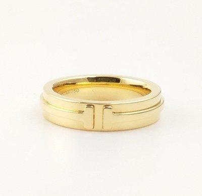 (可缐上無息分期刷卡)Tiffany&Co  18k 黃K金 750   國際戒圍8號. 内直徑1.49cm...指環厚0.43cm.....