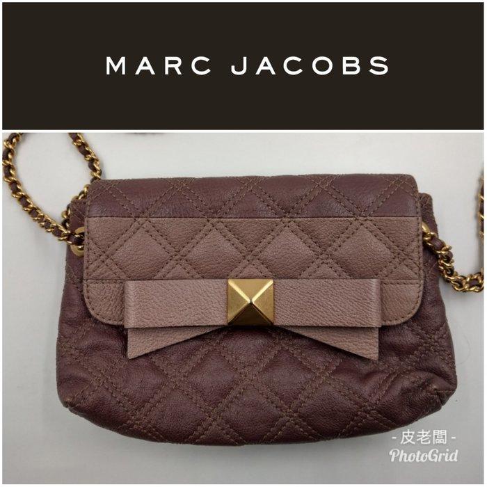 【皮老闆】二手真品 Marc Jacobs 菱格紋 斜背包 肩背包 兩用 (J)