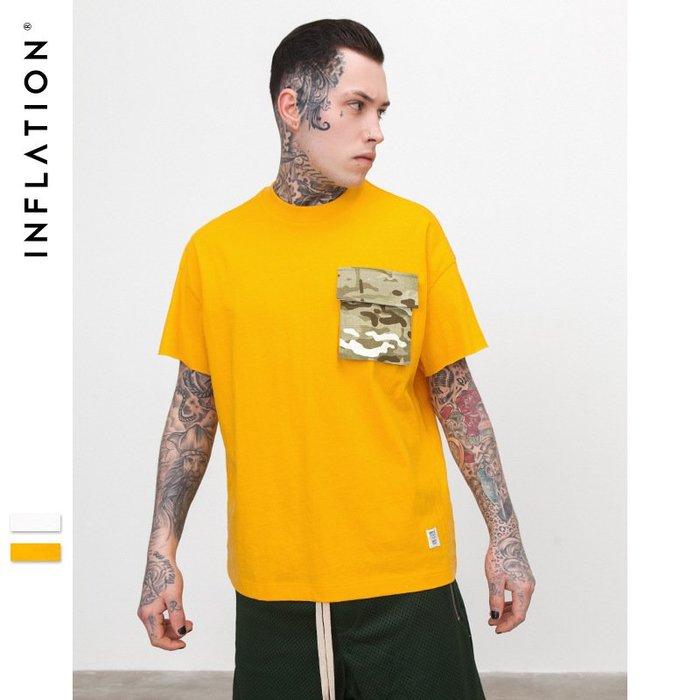 TST- 迷彩 口袋 素面 素T  寬鬆 大尺寸 oversize 落肩五分袖 短袖T恤 短T 情侶款美式西岸