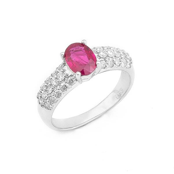 【JHT 金宏總珠寶/GIA鑽石專賣】天然紅寶鑽石戒指/材質:PT900/附證書(JB19-B01)