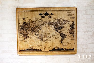 【OPUS LOFT】6K0105U 復古 木框 世界地圖 掛畫
