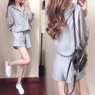 2018夏季新款韓版休閒套裝女夏裝潮時尚寬鬆學生運動服夏天兩件套