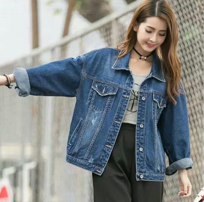 【現貨實拍❤】韓學生寬鬆bf風長袖百搭口袋立領夾克牛仔外套/男友牛仔/BF牛仔外套【S~XL】