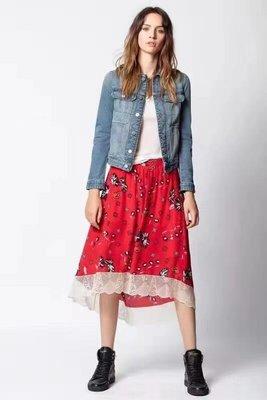 Zadig真絲半身裙純原 21春夏100%真絲複古印花蕾絲邊半裙 特價少量