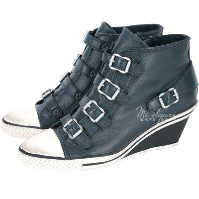 米蘭廣場 ASH GENIAL 經典羊皮釦帶楔型休閒鞋(深綠色) 1520450-18