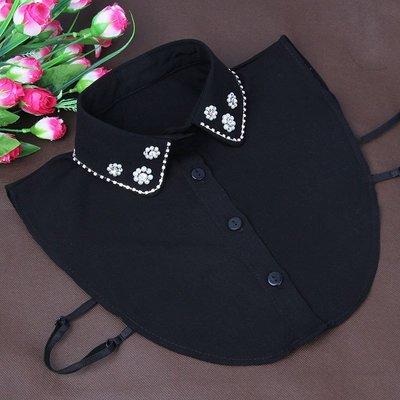 假領子襯衫領片-珍珠小花鑲鑽秋冬女裝配件2色73vk50[獨家進口][米蘭精品]