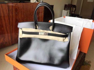 HERMES black Box leather 35cm birkin Box Calf 100%New 限量版有興趣私聊,極具收藏價值。持續升值。