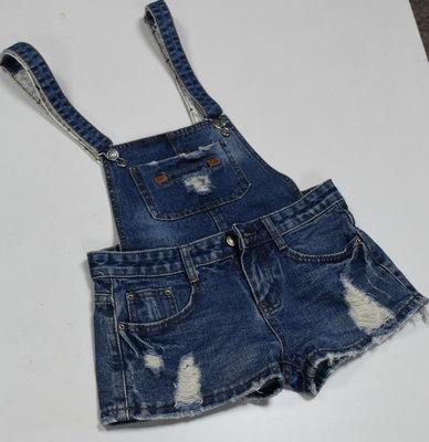 Cuttle Jeans 時尚超炫破壞款 低腰 吊帶連身牛仔褲裝 短褲 二款穿 S號