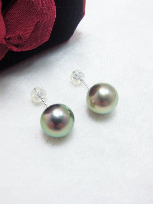 11mm 南洋黑珍珠14K金耳環(插針)【元圓珠寶】