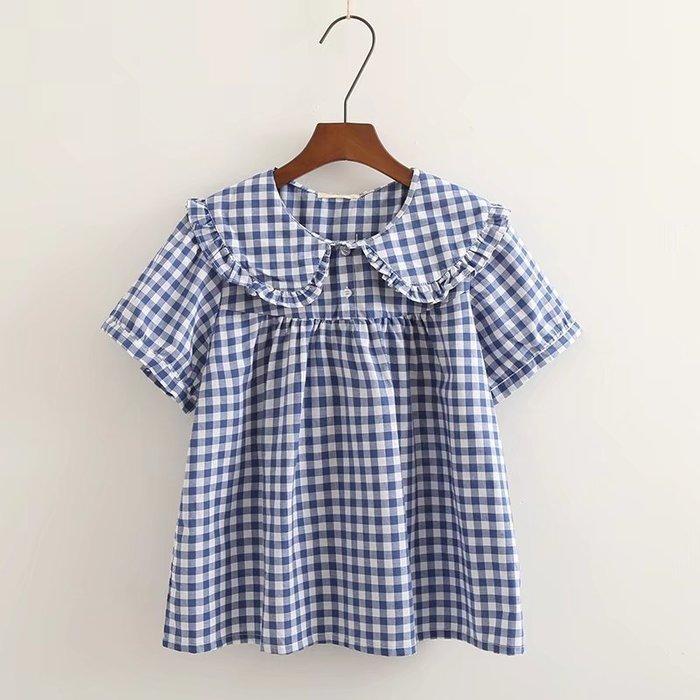 ☆紫米粒小舖☆【R31849】棉麻 花邊娃娃領格紋/白短袖棉麻衫。