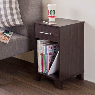 胡桃木色單抽邊櫃/ 收納櫃/ 置物櫃/ 床頭櫃/ 整理櫃 新北市