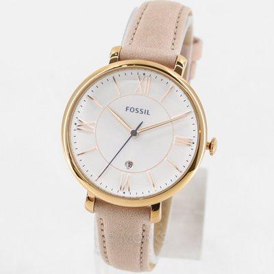 FOSSIL ES3988 手錶 36mm 玫瑰金 粉色錶帶 白色面盤 日期顯示 女錶
