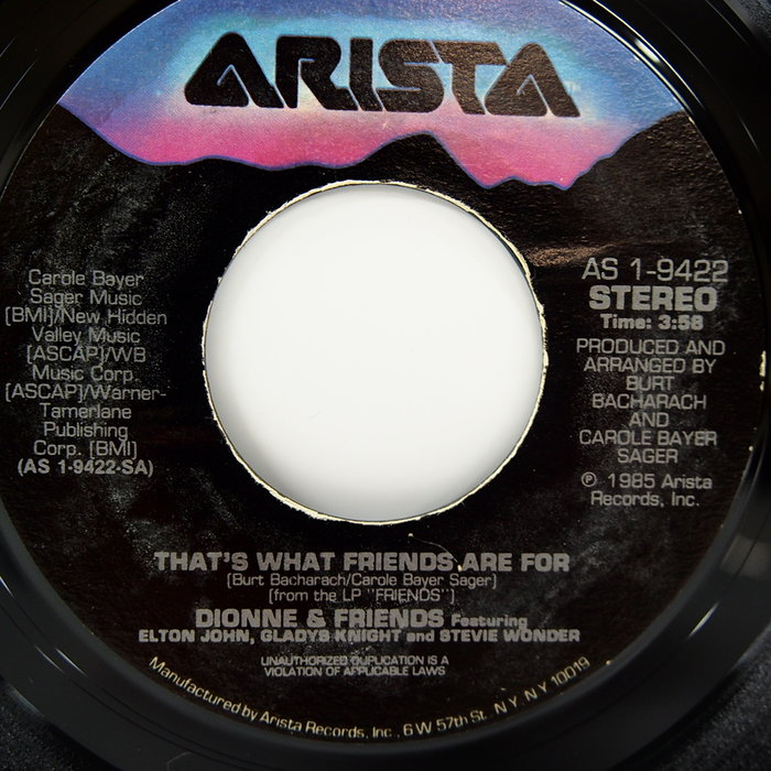 45 rpm 7吋單曲 Dionne Warwick【That's What Friends Are For】美國首版