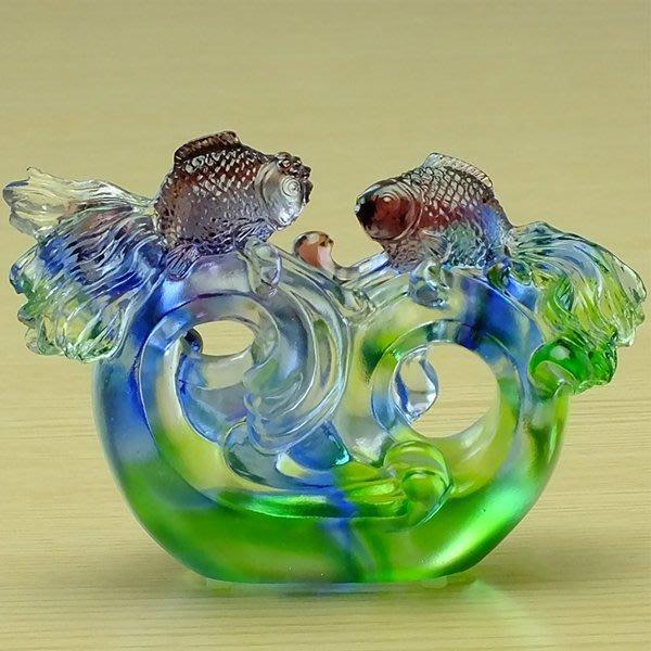 5Cgo【鴿樓】會員有優惠 526459668443 創意結婚禮物琉璃魚工藝品高檔朋友婚慶房家居擺件 琉璃招財