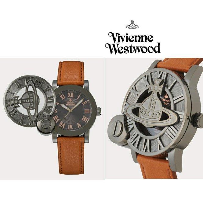 Vivienne Westwood►( 棕褐色×深銀鎳色  ) 立體土星翻蓋手錶 中性錶|100%全新正品|日本限定款!
