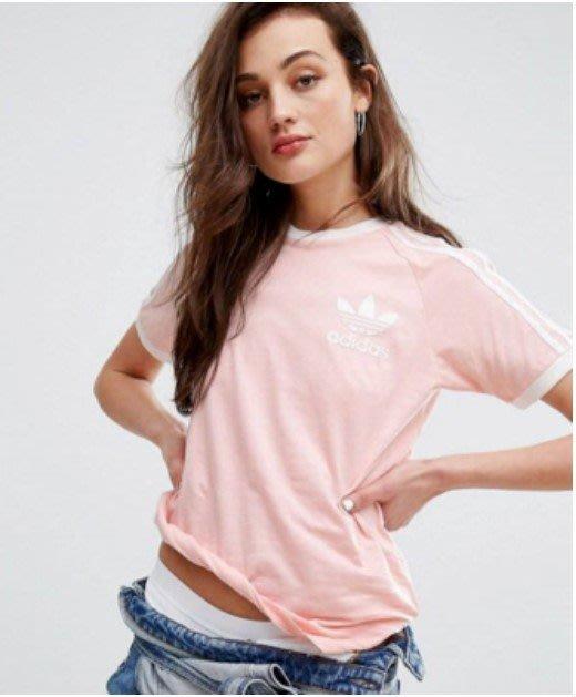 愛迪達 Adidas 三葉草 經典三線 三槓 短袖T恤 圓領上衣 T恤 情侶裝 粉紅BQ5371 粉藍BR4736/澤米