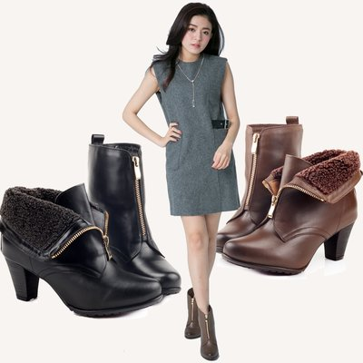 兩穿式 內鋪羊毛全真皮高跟短靴 台灣手工鞋 丹妮鞋屋