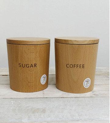 鄉村童話代購 MUTE 天然木製 咖啡罐 糖罐 收納罐