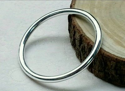 嗨,寶貝銀飾珠寶* 925純銀☆999純銀 純手工 超閃亮 極簡風 光面 素面 環粗5mm實心純銀 手環 手鐲 可訂製