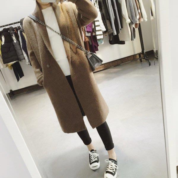 韓版長版外套 深駝色 大衣 長版 外套 長版大衣 中長款 羊絨毛衣 加厚 針織開衫 外套 寬鬆 均碼