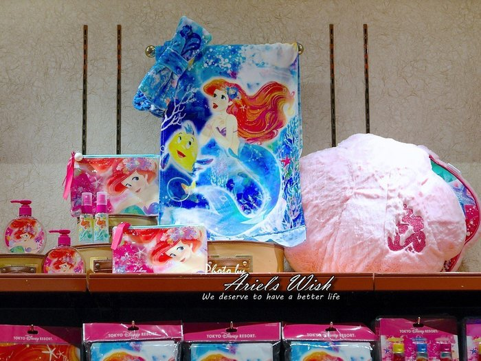 Ariel's Wish預購-日本東京Disney迪士尼愛麗兒小美人魚水藍色夢幻海底泡泡擦手巾手帕髮巾長條毛巾(中)