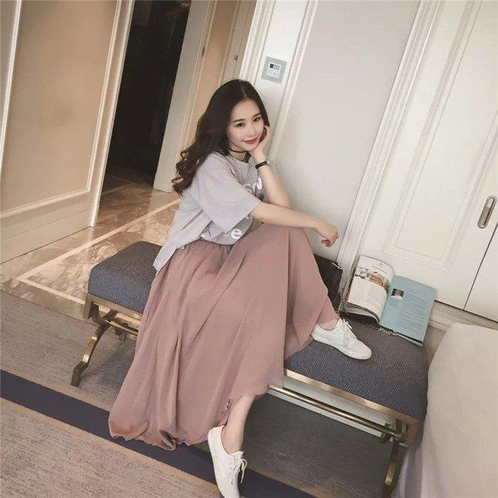 夏季雪紡半身裙長裙百搭高腰裙A字裙顯瘦裙仙女裙