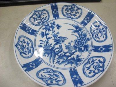 二手舖 NO.2604 青花瓷盤 擺盤 花鳥圖樣 居家擺件