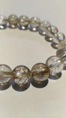 水晶特價品~茶色髮絲水晶手鍊,9mm圓珠(20顆珠),適合手圍長度16~17cm者佩戴!