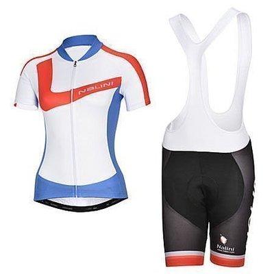 呱啦呱啦代購 2014年款NALINI 紅藍女款 車衣車褲背帶短套裝 自行車服 單車服 排汗透氣騎士服