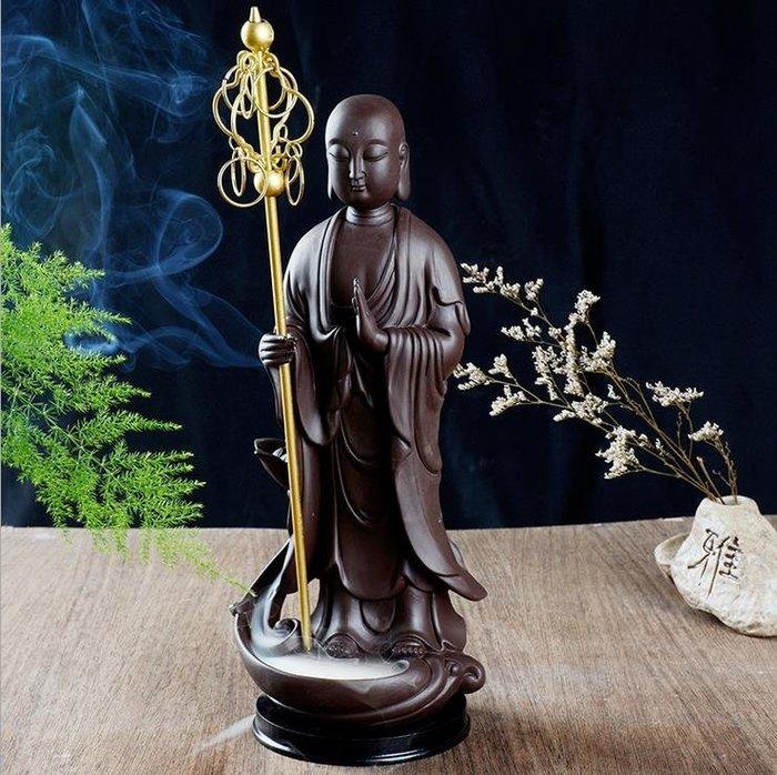 陶瓷創意家居擺件地藏王倒流香爐佛像佛教用品工藝禮品