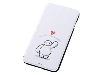 尼德斯Nydus~* 日本迪士尼 大英雄天團 杯麵 Baymax 翻頁皮套 手機殼 5.5吋 iPhone6+ 白