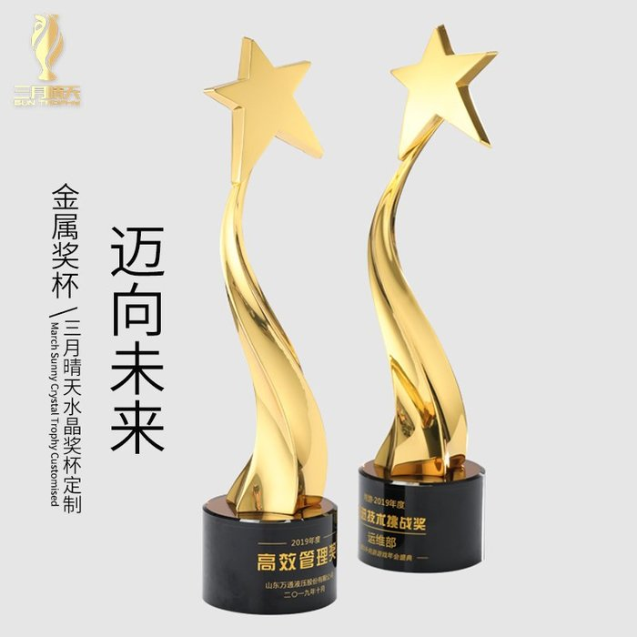 千夢貨鋪-大號五角星金屬獎杯創意水晶獎杯定制刻字邁向未來活動頒獎紀念品
