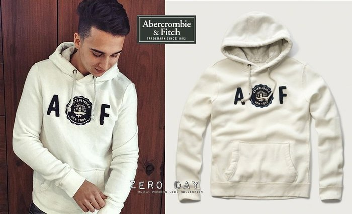 A&F Abercrombie&Fitch Applique Logo Graphic Hoodie徽章貼布連帽T-白色