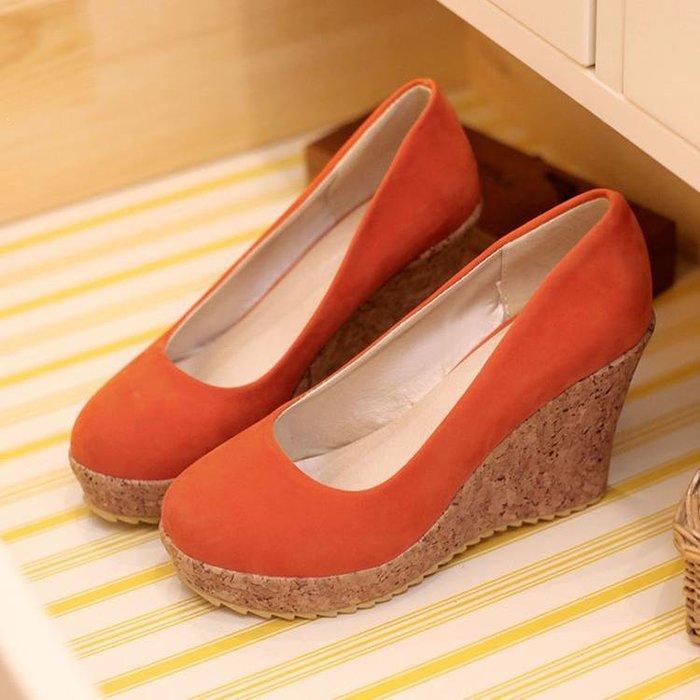 新款歐美外貿大碼女鞋磨砂絨面坡跟單鞋套腳甜美高跟鞋