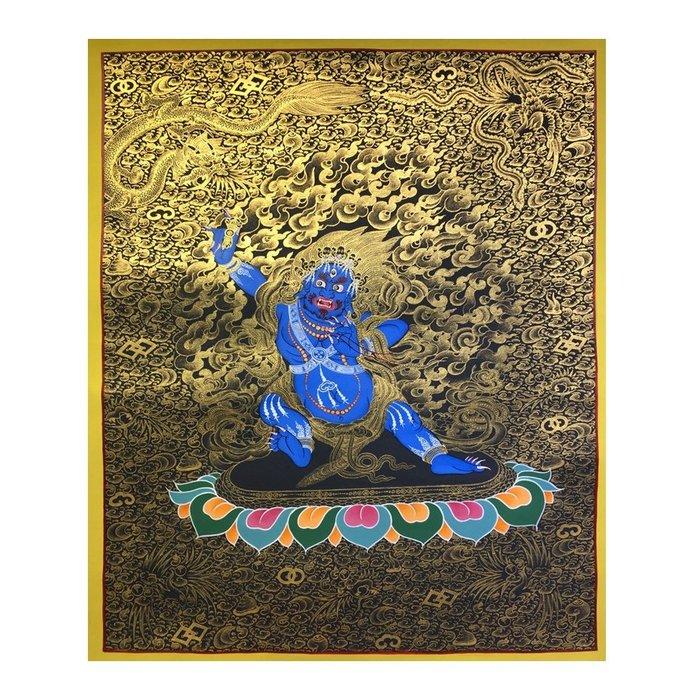 正品潮流唐卡純手繪唐卡 黑金六臂瑪哈 善悟集尼泊爾唐卡藝術畫院 TK36