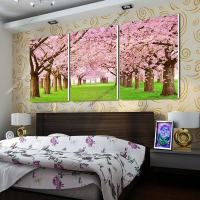 【50*70cm】【厚0.9cm】櫻花林-無框畫裝飾畫版畫客廳簡約家居餐廳臥室牆壁【280101_477】(1套價格)