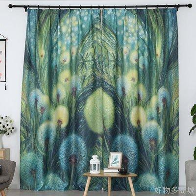 好物多商城 訂製成品窗簾綠植小清新田園風臥室客廳飄窗門簾掛布魔術貼遮光布